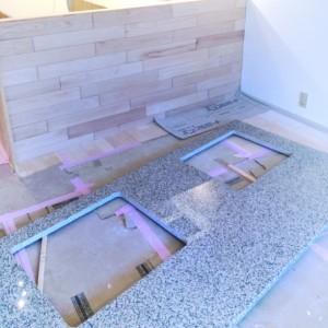 一枚ものの石天板。|神戸市西区のマンションリノベーション モスハウス田端の施工事例