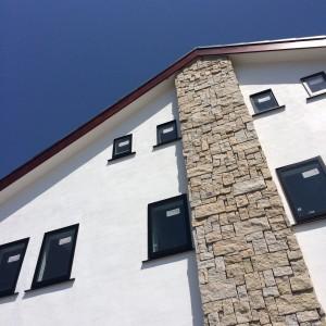 淡路市東浦の注文住宅 外観 しっくい塗り|無添加住宅専門モスハウス田端の現場中継