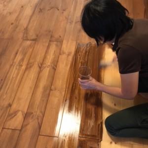 床を濃い目の色に塗装|神戸市西区のマンションリノベーション モスハウス田端の施工事例