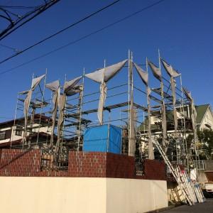 土台敷きと足場|神戸市西神中央の注文住宅 モスハウス田端の現場中継