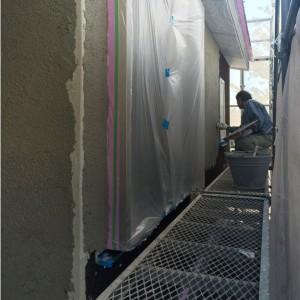 外壁 モルタル漆喰施工 足場|神戸市須磨区西須磨の注文住宅「片流れ屋根の平屋」無添加住宅モスハウス現場中継