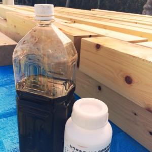 柿渋 防蟻剤|神戸市須磨区西須磨の注文住宅「片流れ屋根の平屋」無添加住宅モスハウス現場中継