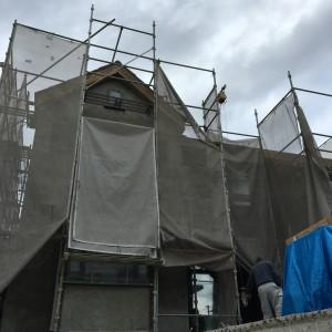 モルタル漆喰施工完了。|神戸市西神中央の注文住宅 モスハウス田端の現場中継
