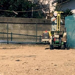 地鎮祭の翌日から地盤調査|神戸市垂水区塩屋町の注文住宅 モスハウス田端の現場中継
