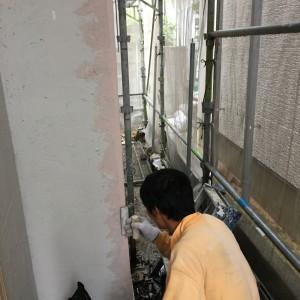 外部しっくい塗り|神戸市垂水区塩屋町の注文住宅 モスハウス田端の現場中継