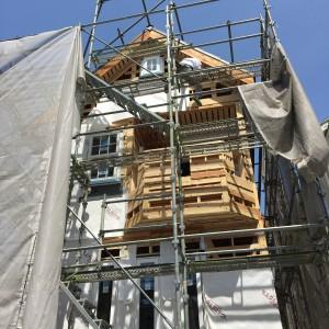 窓サッシ取り付けが済んだら防水紙。|神戸市垂水区塩屋町の注文住宅 モスハウス田端の現場中継