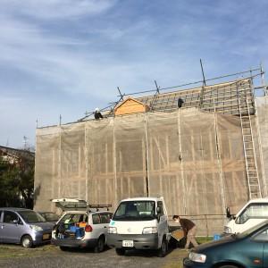 野地板の上にルーフィングを敷き詰め。|神戸市垂水区塩屋町の注文住宅 モスハウス田端の現場中継