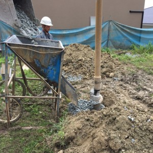砕石 地盤改良 神戸市垂水区塩屋町の注文住宅 モスハウス田端の現場