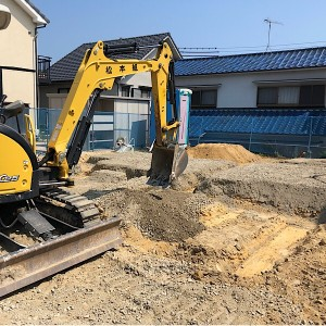 L字間取りの無添加住宅基礎着工「掘り方」
