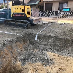 L字間取りの無添加住宅基礎掘り方